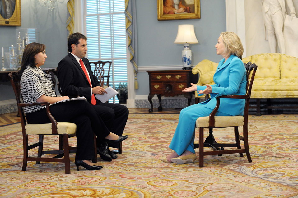 Secretary Clinton Participates in a Joint Interview With Udi Segal of Israeli Channel 2 and Amirah Hanania Rishmawi of Palestine TV