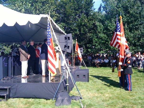 The U.S. Marine Corps Color Guard Present the Colors