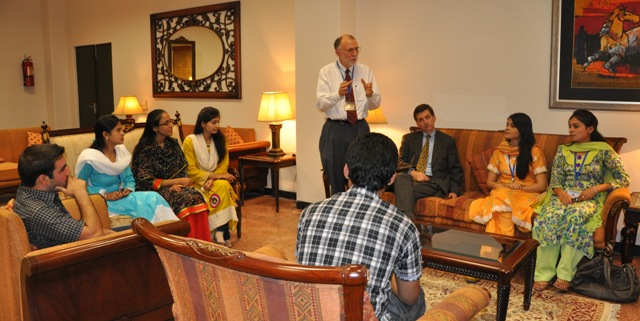 U.S. Agency for International Development (USAID) Mission Director Dr. Andrew Sisson talking to FCC students.
