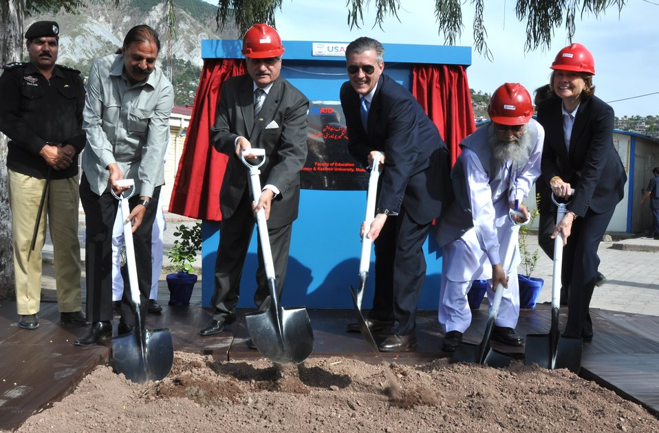 The United States Ambassador to Pakistan, Richard Olson broke ground for a U.S. funded construction of a new Faculty of Education building in Muzaffarabad, AJK.  20