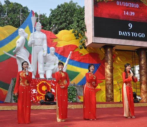 Singers perform during the 1,000-year celebrations in Hanoi, October 2010
