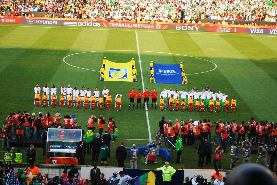 Players and Fans Stand for National Anthems