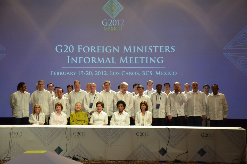 Secretary Clinton Poses for a Family Photo With G-20 Foreign Ministers