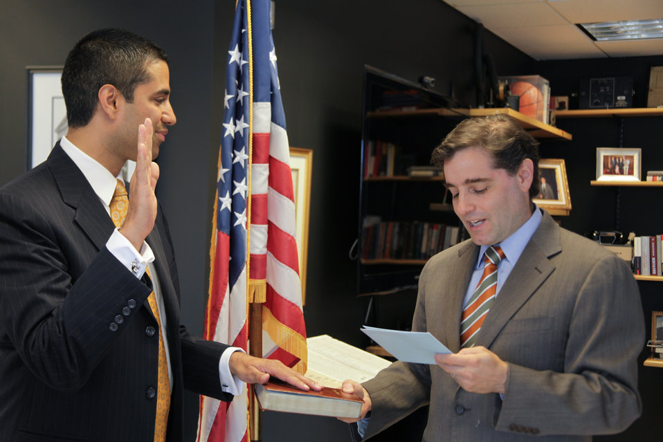FCC Chairman Genachowski swears in Ajit Pai as the new Commissioner