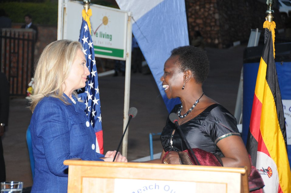 Secretary Clinton Greets Ugandan Minister of Health Dr. Ondoa