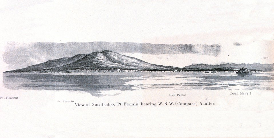 A view of San Pedro to the right and the highlands of Palos Verdes on the left. The Coast Survey Schooner EWING and Steamer ACTIVE are to the left of Dead Man's  Island in this image, directly in front of what is now the major port area for Los Angeles.