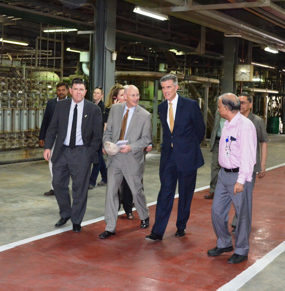 Ambassador Richard Olson taking a tour of the power plant. USAID Mission Director Gregory Gottlieb and US Consul General Karachi Michael Dod