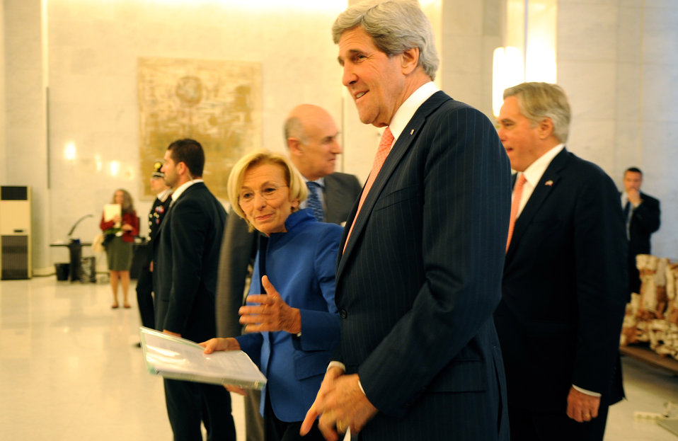 Secretary Kerry Walks With Italian Foreign Minister Bonino