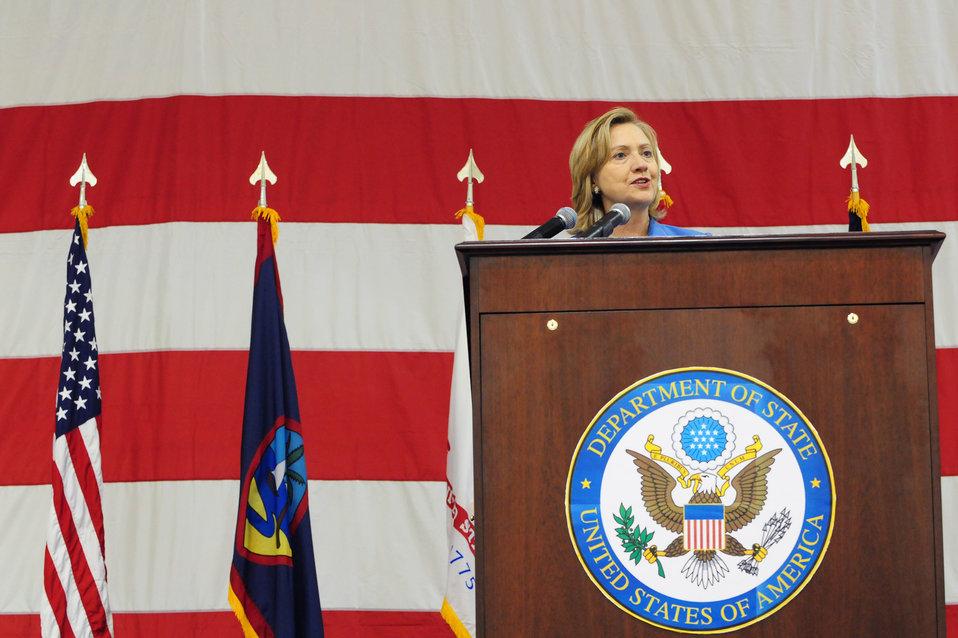 Secretary Clinton Speaks to Servicemembers