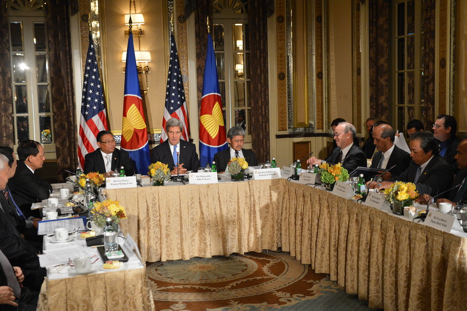 Secretary Kerry Participates in a Meeting of the ASEAN Foreign Ministers