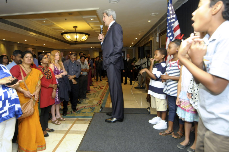 Secretary Kerry Greets Embassy New Delhi Staff