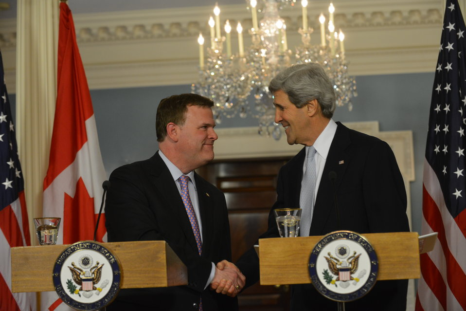 Secretary Kerry Shakes Hands With Canadian Foreign Minister Baird