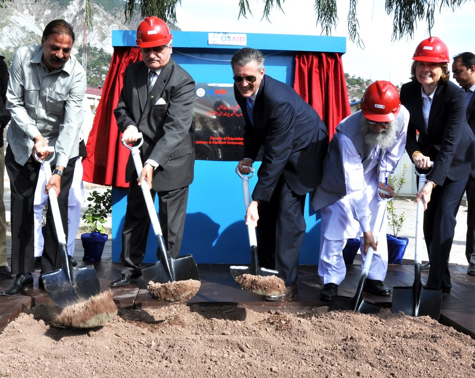 The United States Ambassador to Pakistan, Richard Olson broke ground for a U.S. funded construction of a new Faculty of Education building in Muzaffarabad, AJK.  19