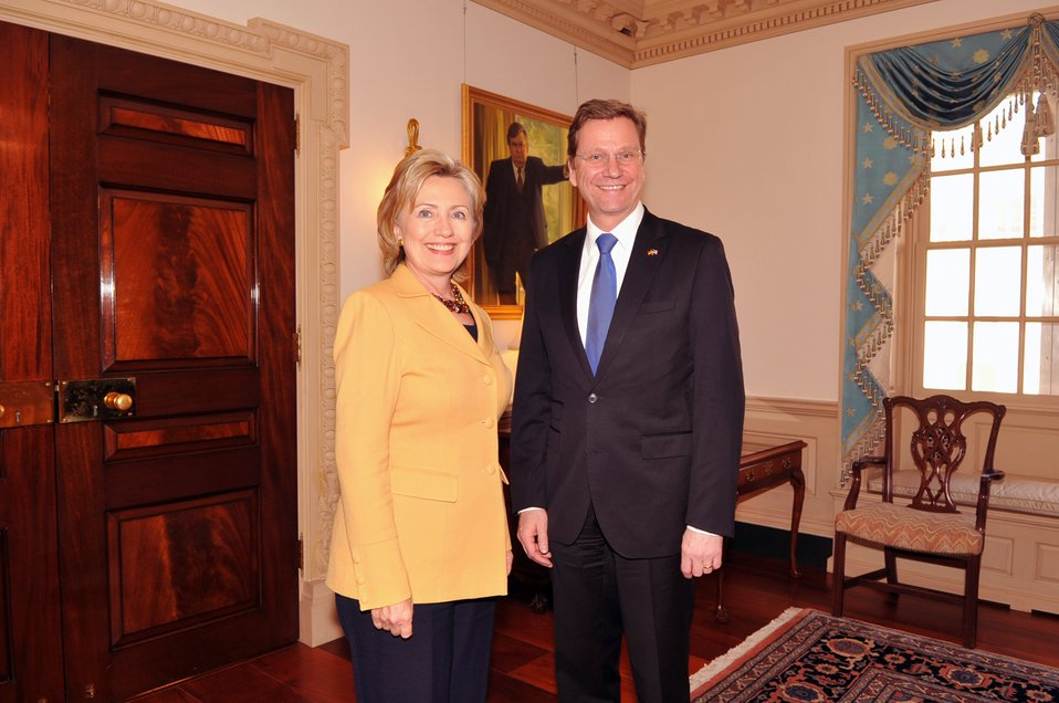 Secretary Clinton Poses for a Photo With German Foreign Minister Westerwelle