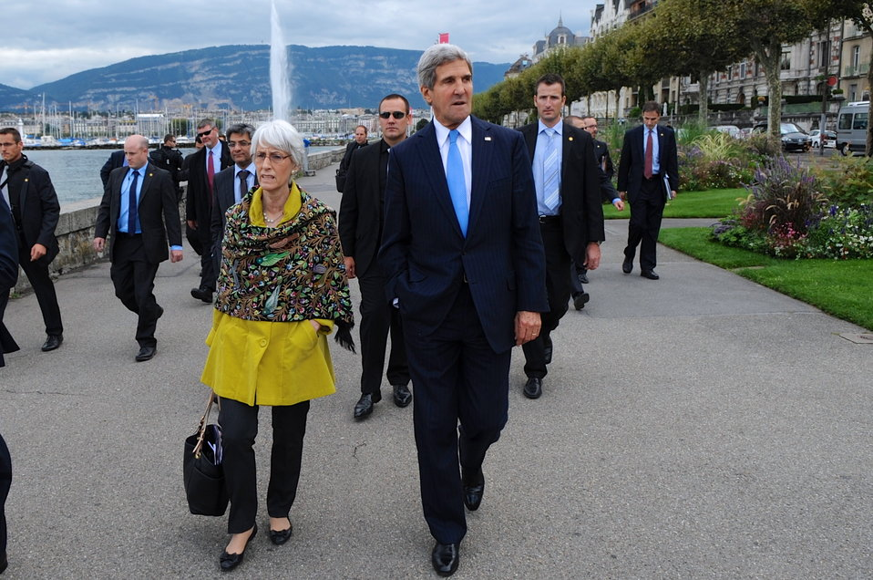 Secretary Kerry and Undersecretary Sherman Walk Along Lake Geneva