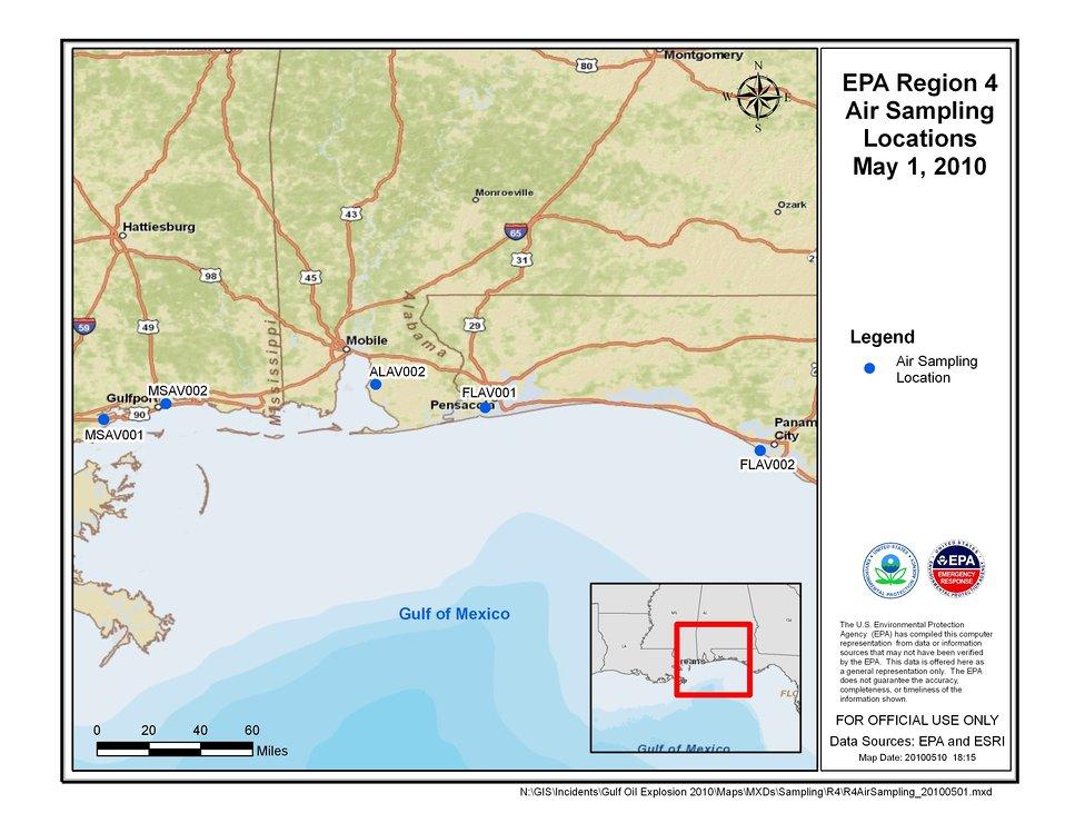 EPA Air Sampling Locations May 1, 2010