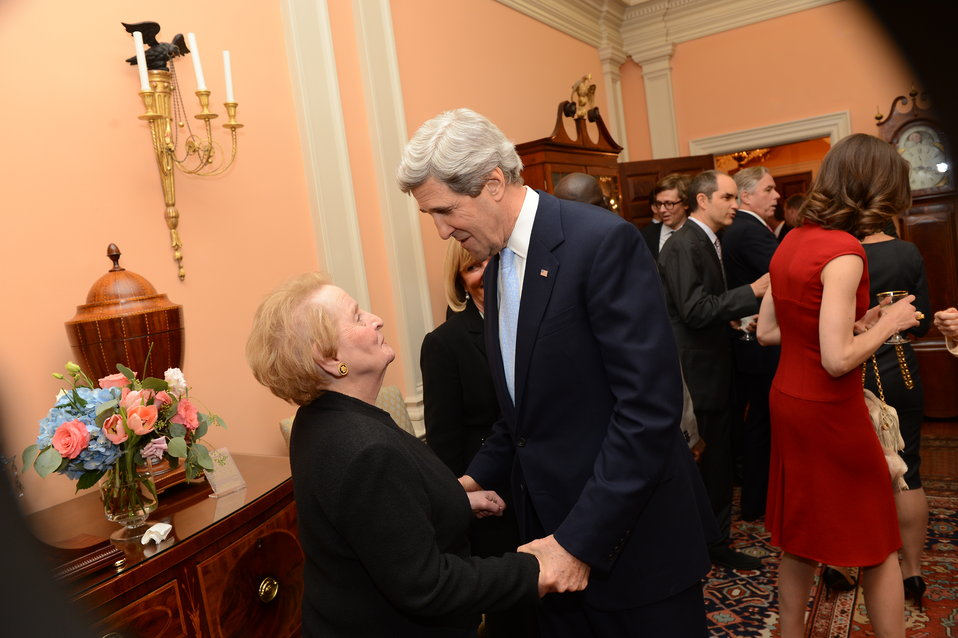 Secretary Kerry Greets Former Secretary Albright