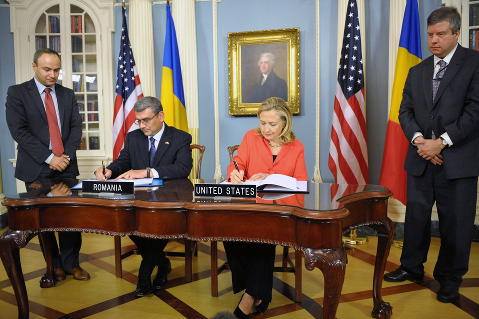 Secretary Clinton and Romanian Foreign Minister Baconschi Sign the Ballistic Missile Defense Agreement