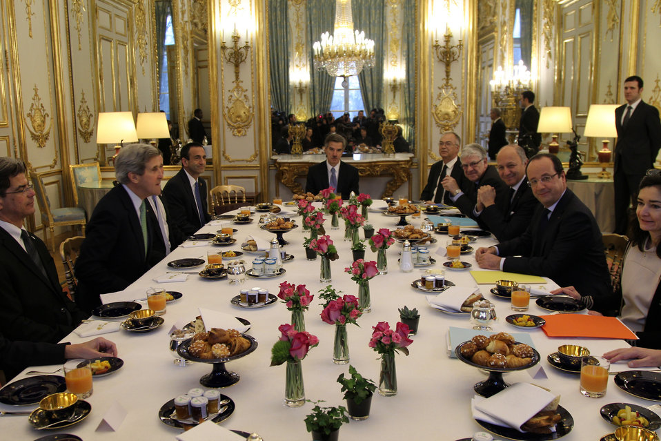 Secretary Kerry Works With President Hollande