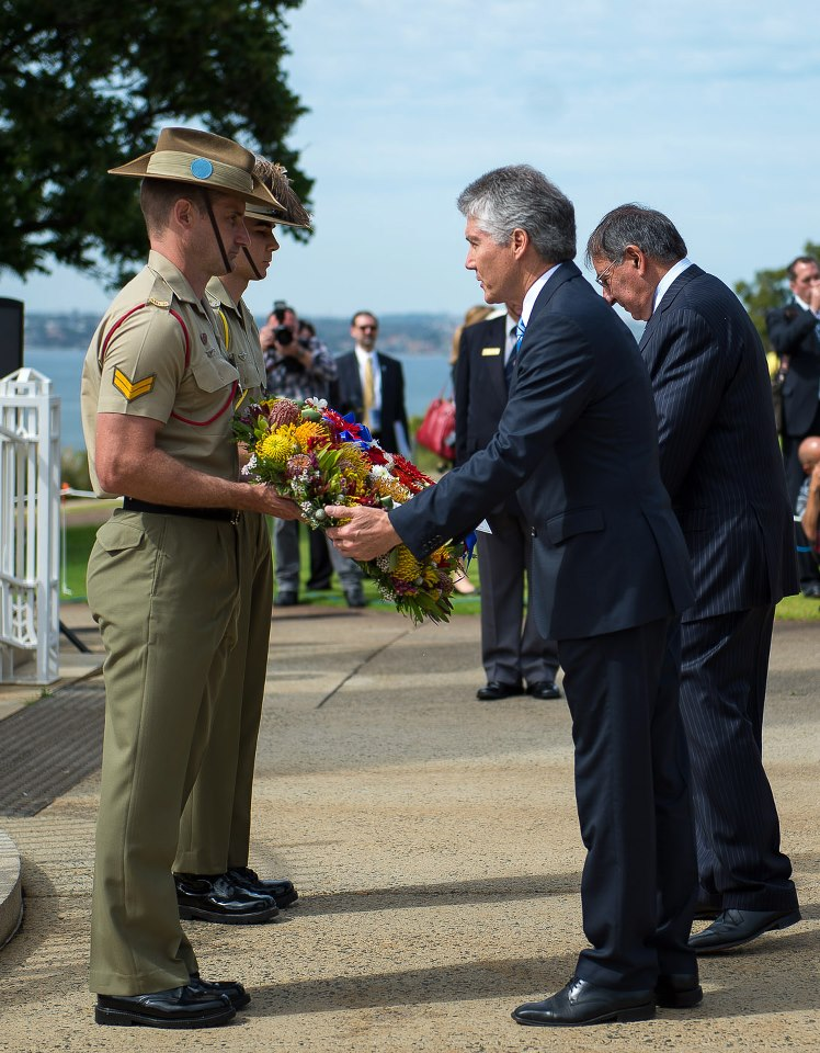 Australian Minister Smith and Secretary Panetta at a Wreath-Laying Ceremony