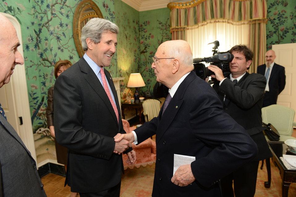 Secretary Kerry Shakes Hands With Italian President Napolitano