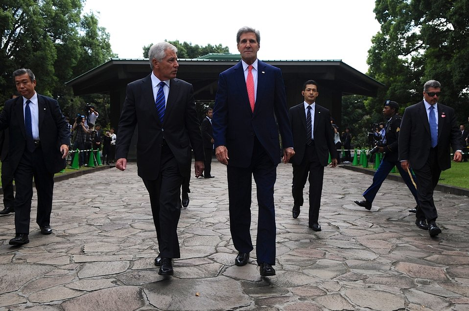 Secretary of State Kerry and Defense Secretary Hagel at at the Chidorigafuchi National Cemetery in Tokyo