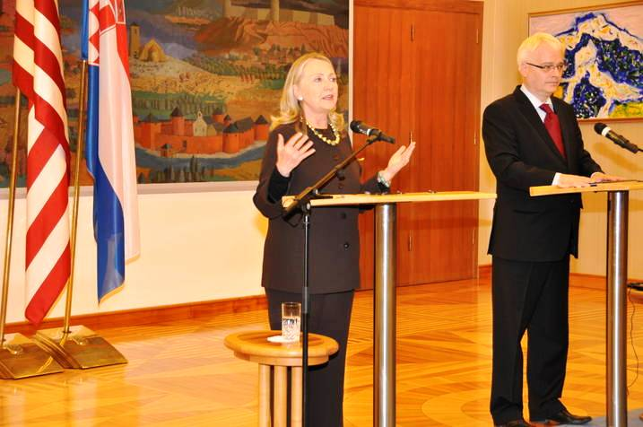 Secretary and Croatian President Josipovic Address Reporters