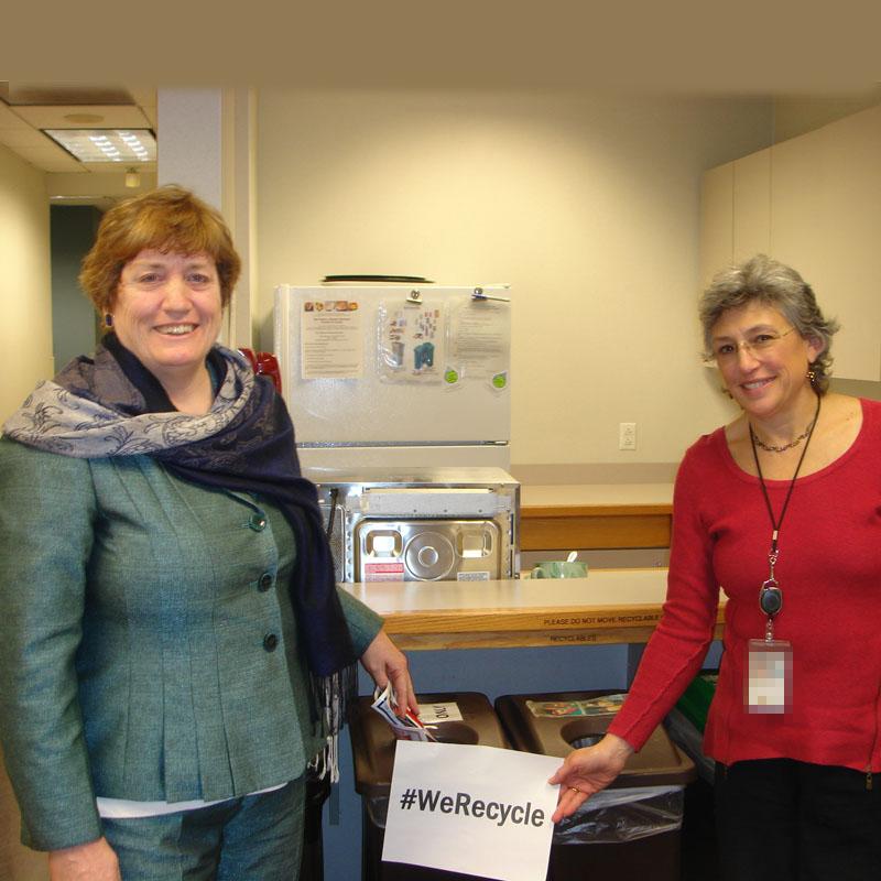 EPA Employees Lorna and Maryann Recycle