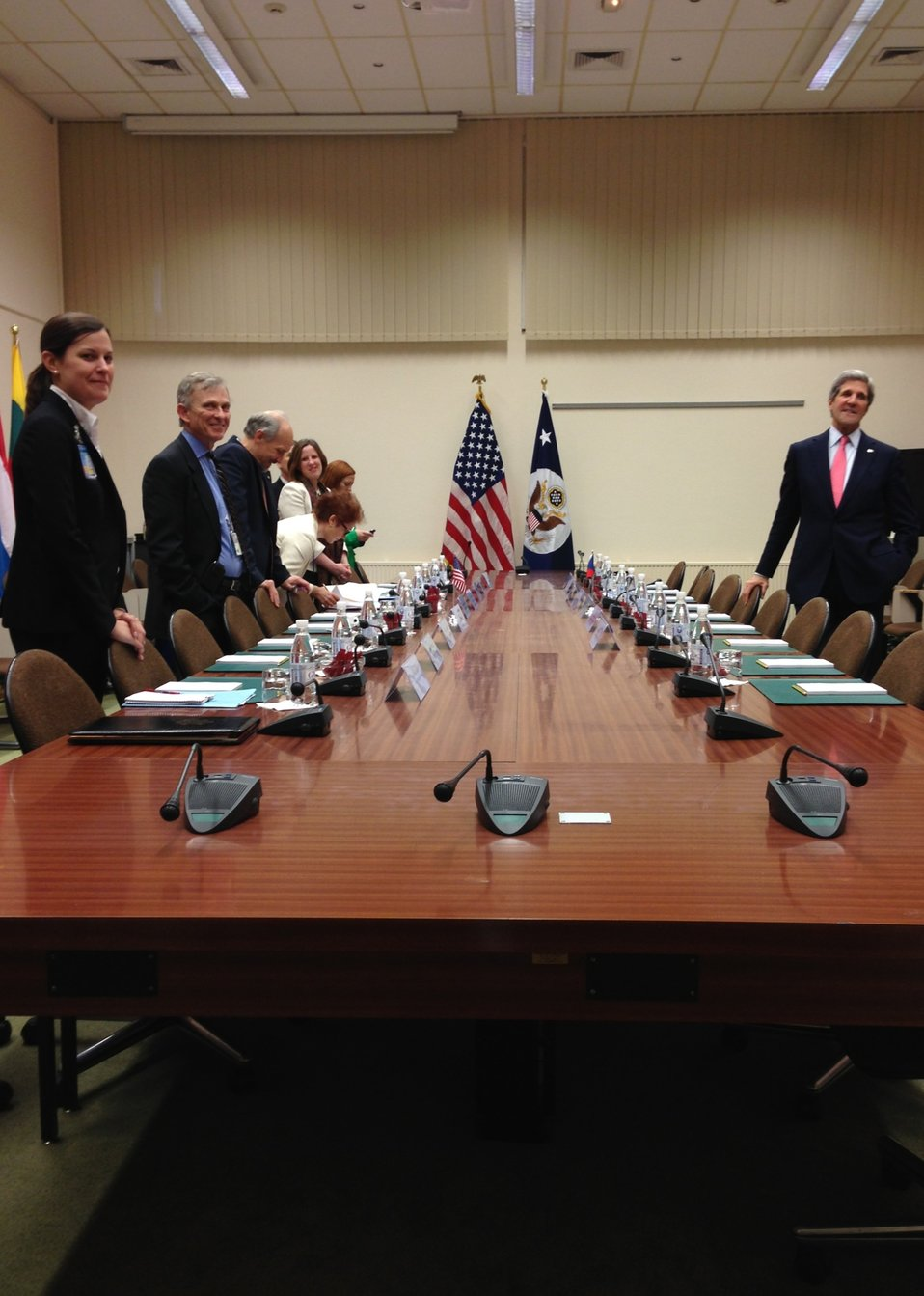 Secretary Kerry and Staff Await the Start of a Meeting With Czech Foreign Minister Schwarzenberg