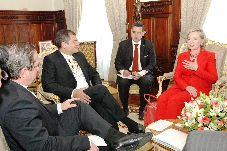 Ecuadorian President Rafael Correa Holds Bilateral Meeting With Secretary Clinton