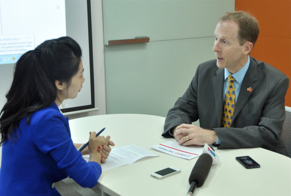 USAID Mission Director Joakim Parker answers interview questions from Voice of Vietnam (VOV) Television.