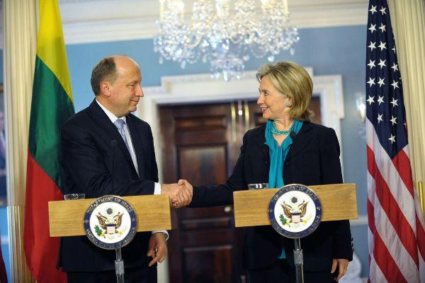 Secretary Clinton Shakes Hands With Lithuanian Prime Minister Kubilius