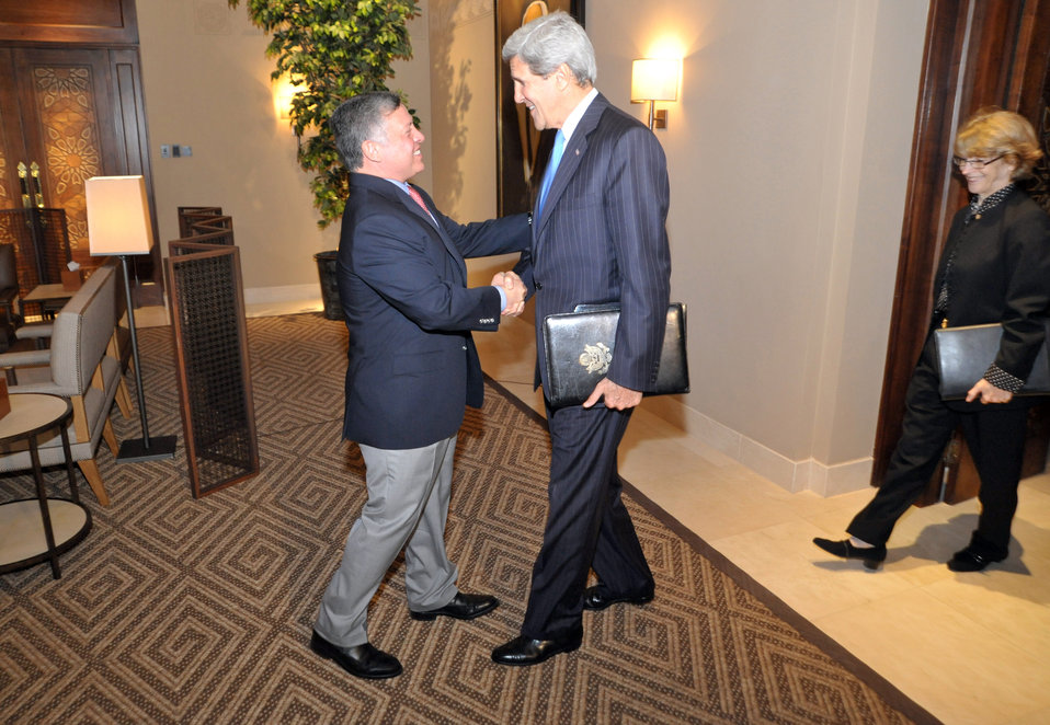 Secretary Kerry Is Greeted By King Abdullah II
