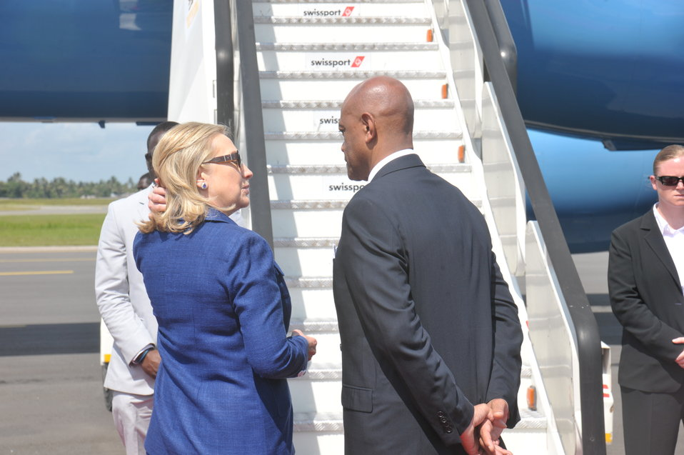 Secretary Clinton Speaks With Ambassador Lenhardt