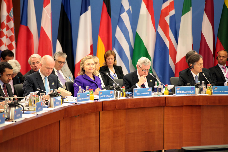 Secretary Clinton Participates in a Working Lunch With NATO Foreign Ministers