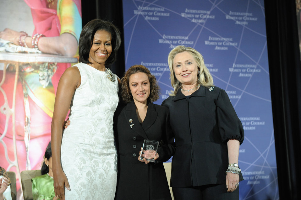 Secretary Clinton and First Lady Obama With 2012 IWOC Award Winner Jineth Bedoya Lima of Colombia