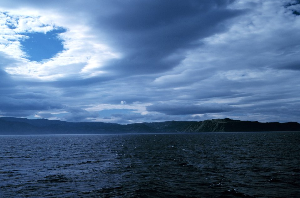 Dramatic cloud formation over the Puale Bay area of the Alaska Peninsula.