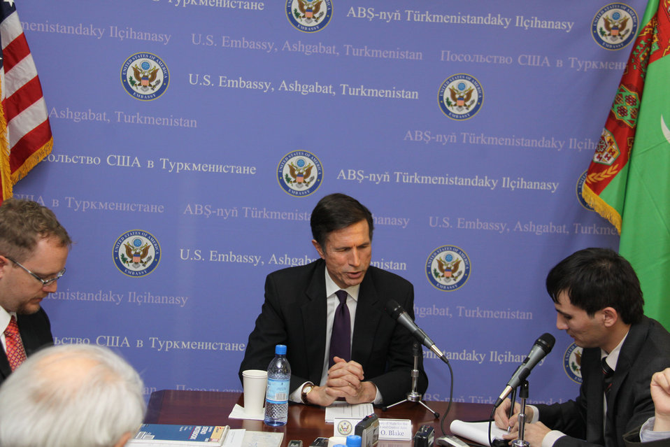 Assistant Secretary Blake Holds a Press Conference