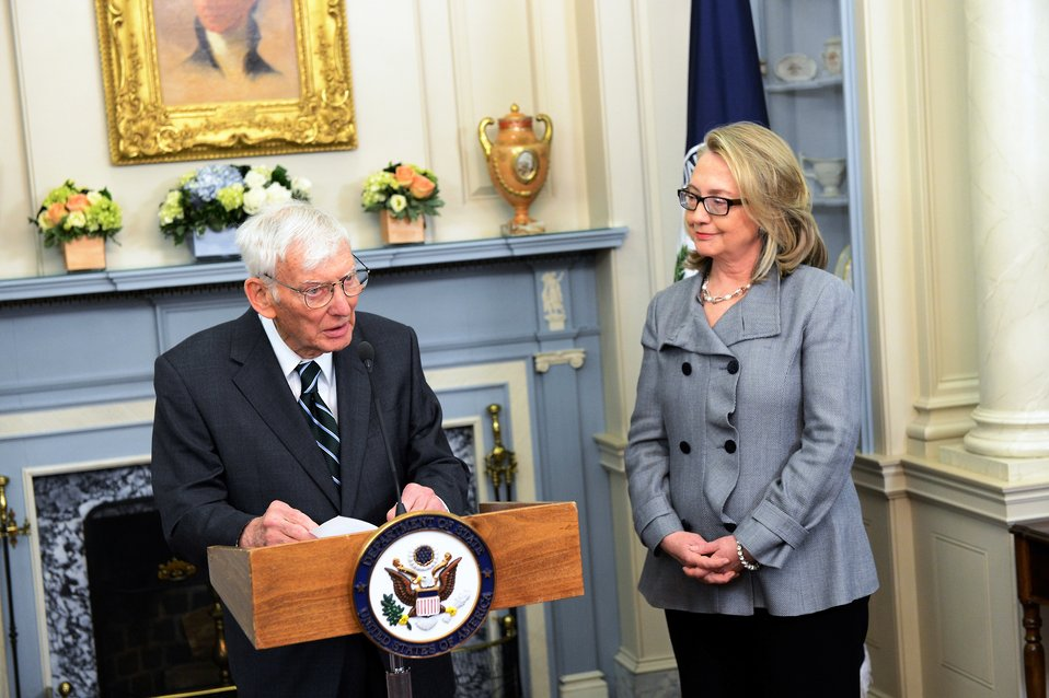 Secretary Clinton Participates in a Flag Ceremony for Ambassador Rooney