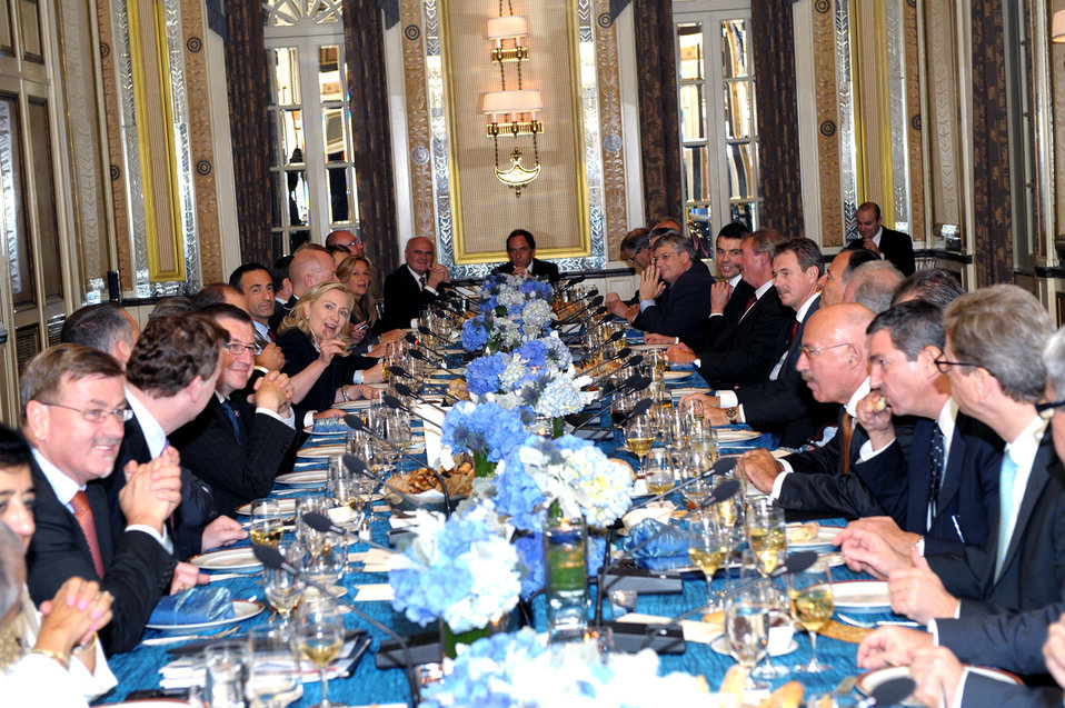 Secretary Clinton Hosts a Trans-Atlantic Dinner for Foreign Ministers From EU and NATO Countries