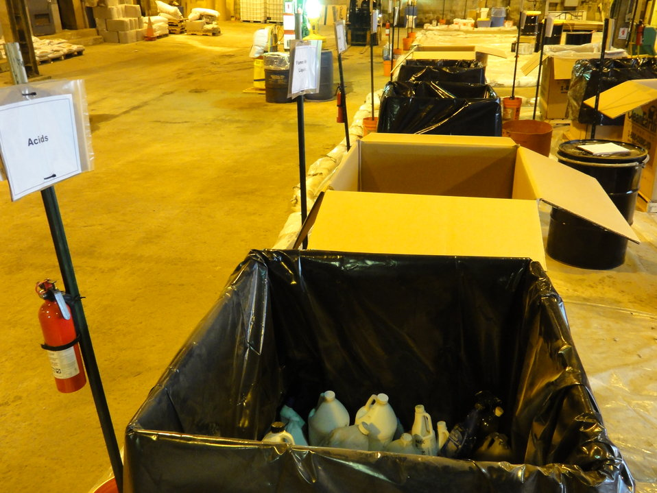 December 2, 2012 - Bins lined up by category inside Staten Island Collection Area