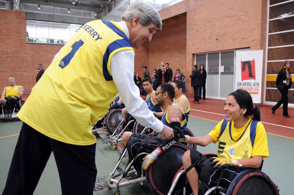 Secretary Kerry Meets a Member of the Colombian Wheelchair Rugby Team