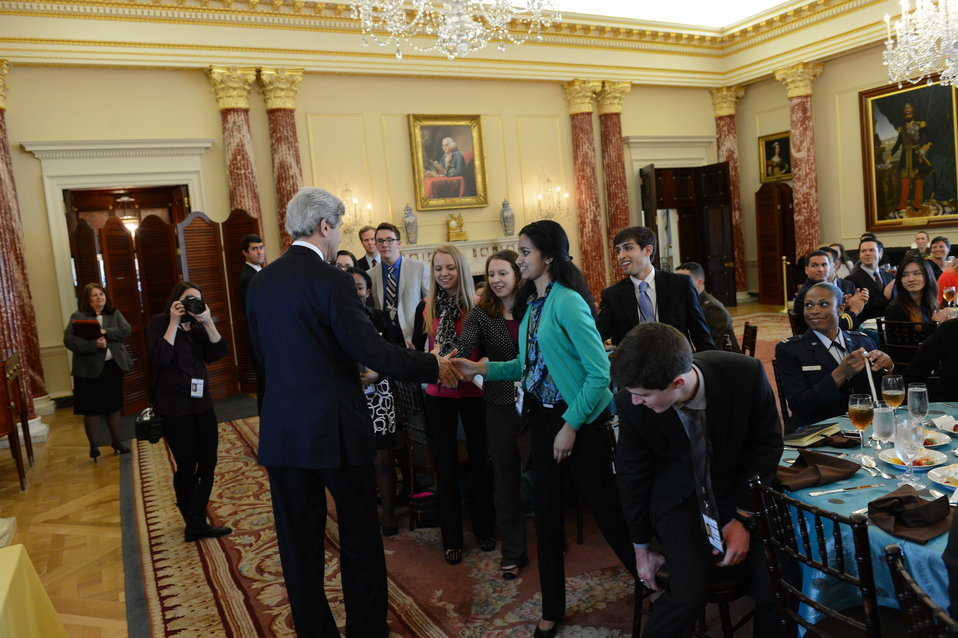 Secretary Kerry Shakes Hands With Senate Youth Program Participants