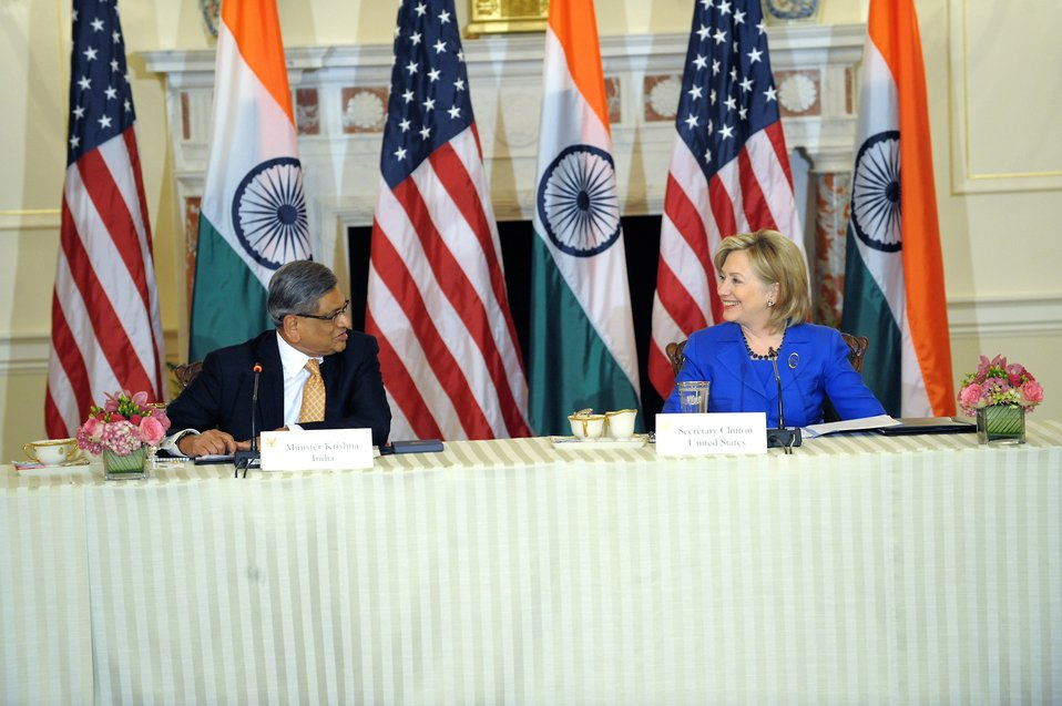 Secretary Clinton Opens Plenary With Indian Minister of External Affairs S.M. Krishna