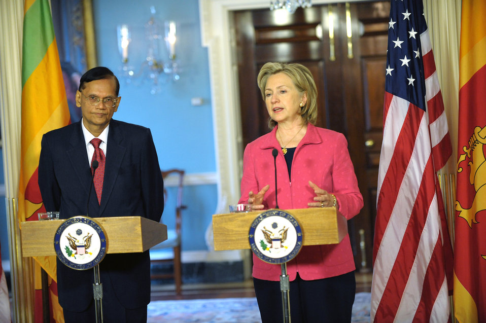 Secretary Clinton Holds Joint Press Availability With Sri Lanka Minister of External Affairs G.L. Peiris