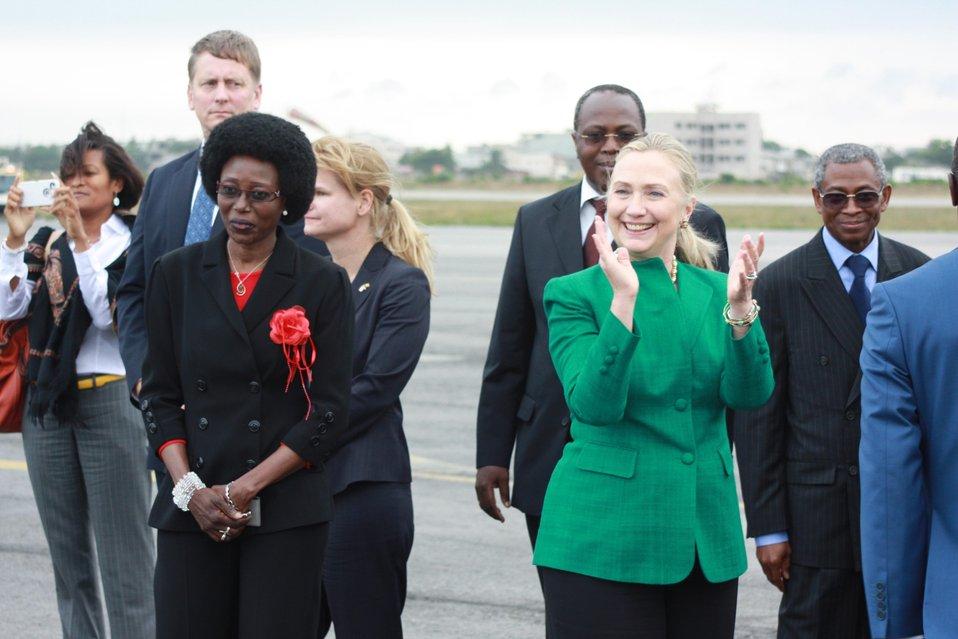 Secretary Clinton Is Greeted By Special Advisor Miriam Aladji Boni Diallo