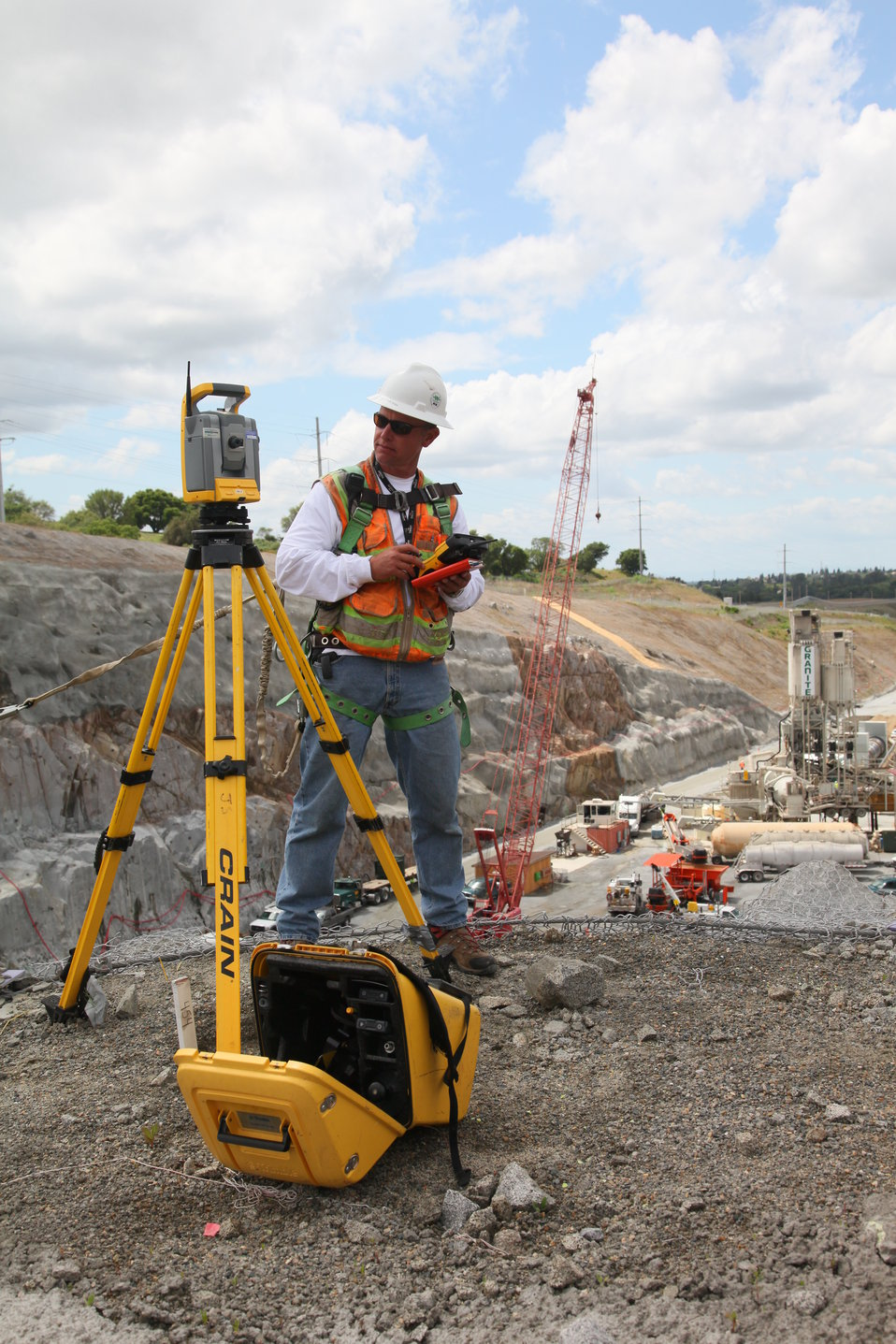 Surveying for crane placement at the Folsom JFP auxiliary spillway