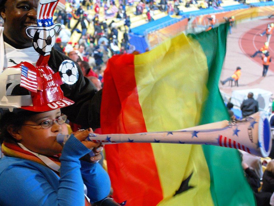 A Ghanaian Fan Blasts the Vuvuzela