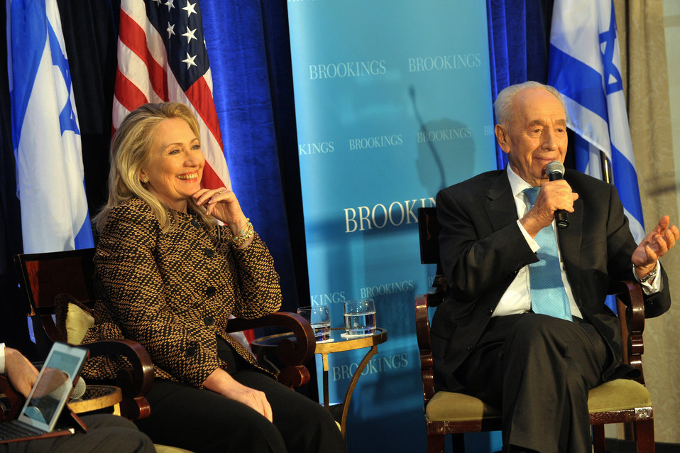 Secretary Clinton Participates in a Joint Discussion With Israeli President Peres