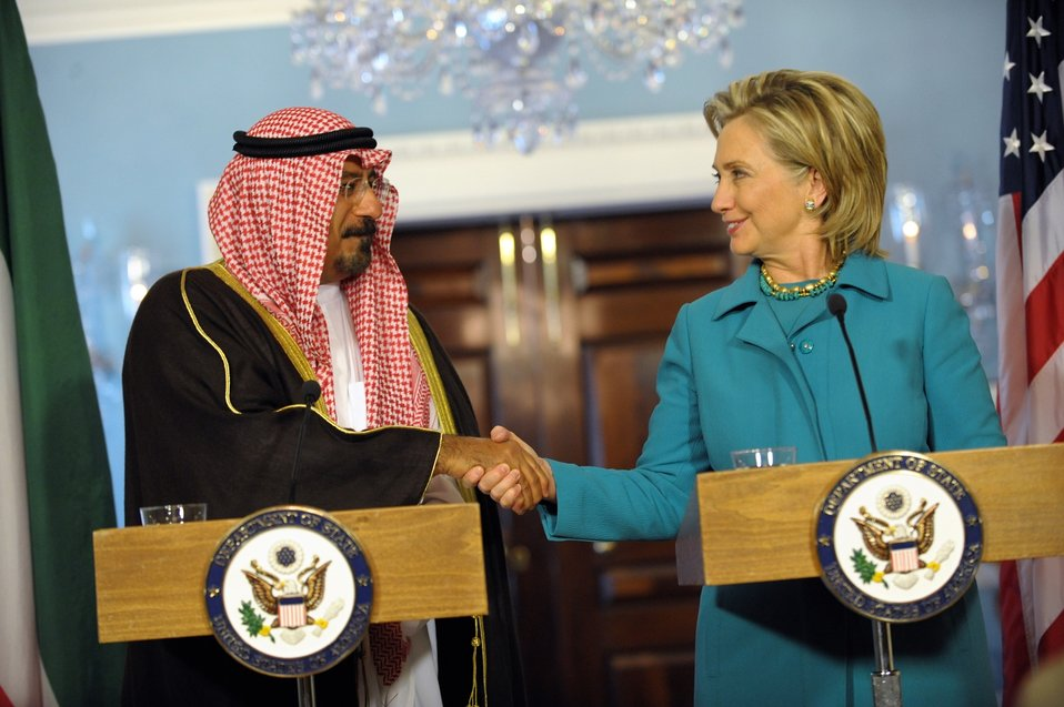 Secretary Clinton With Kuwaiti Deputy Prime Minister and Foreign Affairs Minister